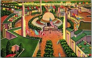 1939 NEW YORK WORLD'S FAIR Postcard Aerial View Where Stars will Shine Linen