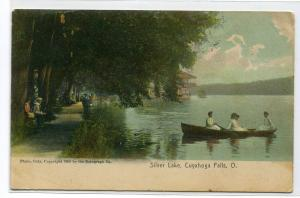 Boating Silver Lake Cuyahoga Falls Ohio 1908 postcard