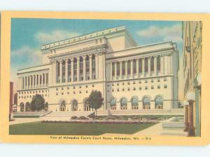 Unused Linen COURTHOUSE SCENE Milwaukee Wisconsin WI d2590