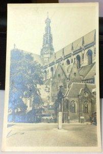 Netherlands Grote of St Bavokerk Haarlem met Kosterswoning en Kerkhuisjes RPPC -