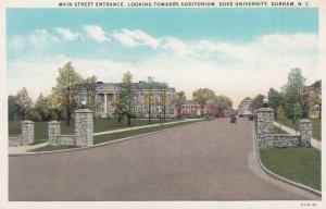 DURHAM , North Carolina , 1910s ; Main Street Entrance , Duke University