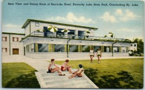 1940s Kentucky Lake State Park Postcard Rear View of KEN-LAKE HOTEL Linen