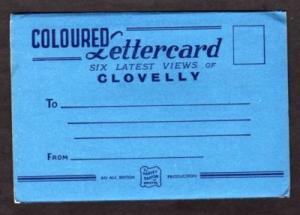 UK CLOVELLY Postcard Folder w/6 views Devon  ENGLAND