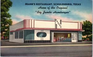SCHULENBURG, TX  FRANK'S Restaurant HOME of BIG JUMBO c40s Roadside   Postcard