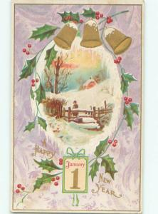 Divided-Back NEW YEAR SCENE Great Postcard AA2109
