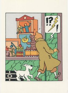 Tintin Watching Punch & Judy Show In Toy Shop Postcard