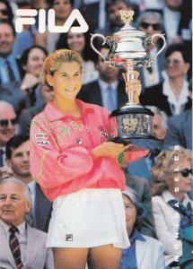 Monica Seles Tennis Victory at Australian Open 1992 Rare Italian Postcard