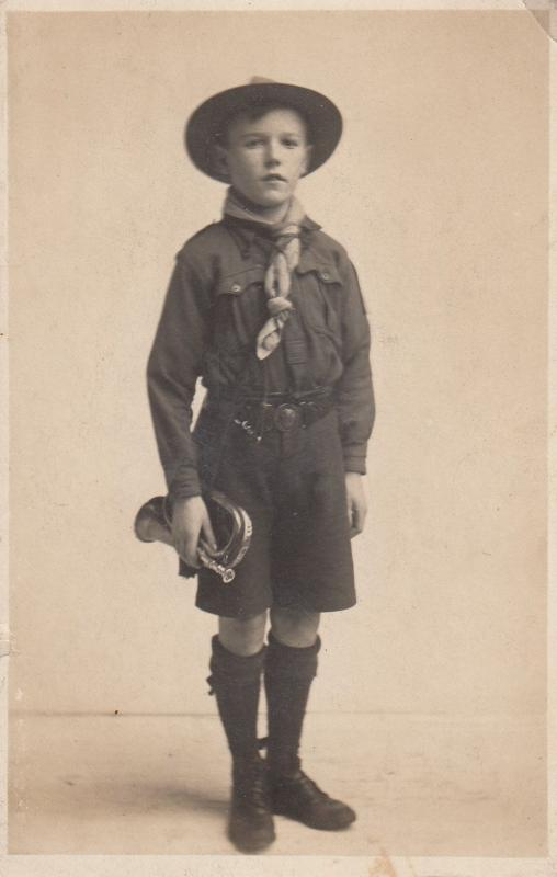 Boy Scout With Bugle Antique Postcard