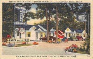 Smith's Motor Court Motel Myrtle Beach South Carolina linen postcard