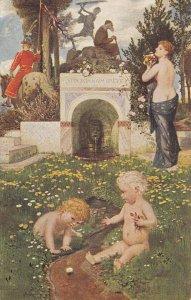 Fantasy : Nude Girl & 2 kids , Artist A. Bocklin, 00-10s