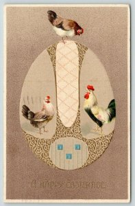Easter~Rooster & Hen~Art Nouveau Egg~Chicken Top~Tan to Brown~Gold Leaf Emboss