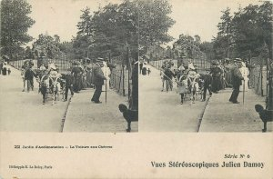 Postcard Stereo image France- Jardin d aclimatisation ride with poney carriage