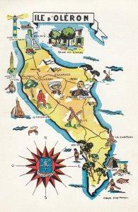 Map ; ILE D'OLERON , France , 40-50s