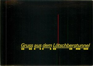Gruss aus dem Lotschbergtunnel by night type comic postcard swiss auto tunnel