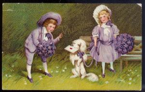 VALENTINE Children w/dog & letter unused 1910's