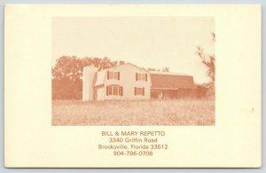 Brooksville Florida~Bill & Mary Repetto~Barn House~Silo~Griffin Road~Map Back~PC