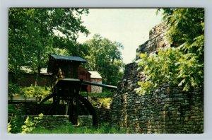 Birdsboro PA- Pennsylvania, Hopewell Furnace and Water Wheel, Chrome Postcard