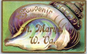 St. Marys, West Virginia Postcard Souvenir Embossed Shell Border 1909 Cancel