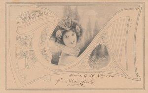 Art Nouveau Female , M.M. VIENNE , 1901
