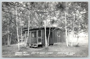 Bovey Minnesota~Cut-A-Way Lodge on Lake~Log Cabin #5~Tiny Porch~1950s RPPC