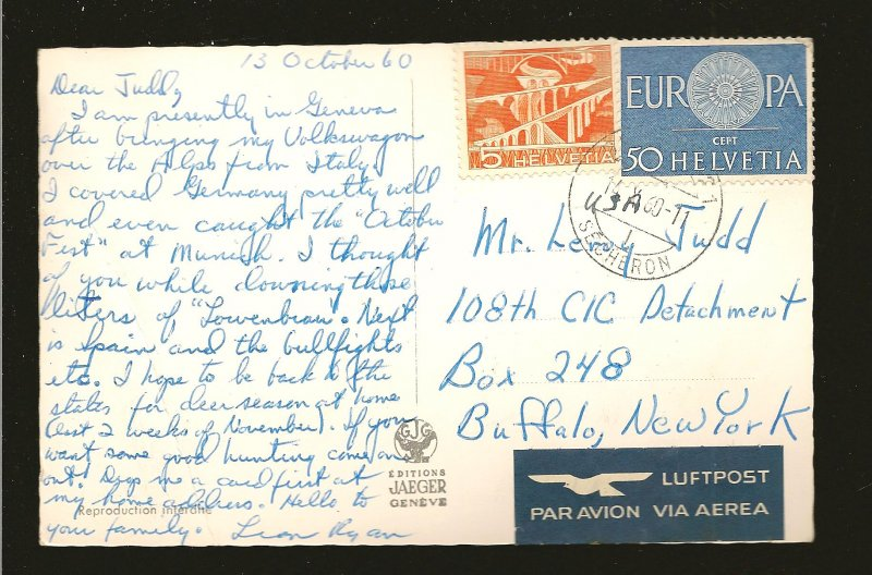 Postmark 1960 Geneve Switzerland Swans Fountain & Mount Blanc Photo Postcard