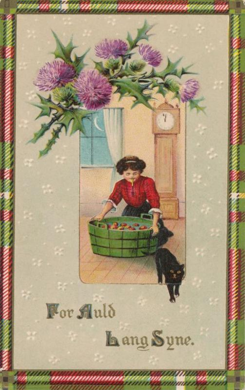 New Years Greetings Auld Lang Syne Thistle Black Cat Apple Bobbing pm 1912 - DB