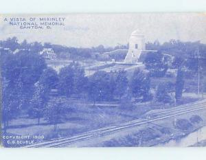 Divided-Back TRAIN TRACKS BESIDE MCKINLEY MONUMENT IN DISTANCE Canton OH F9592