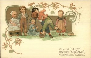 French Chocolate Lindt Sprungli Alpina Kids Wrestle FINE LITHO c1905 Postcard