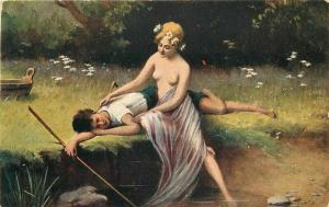 Artist impression C-1910 Lesbian Lovers fishing risque Postcard 4918