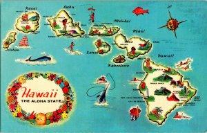 State of Hawaii Aloha State Vintage Map Postcard Standard View Card