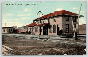 Virginia Minnesota~DM&N RR Depot~Men Gathered at Train Station~Crossing Arm~1911