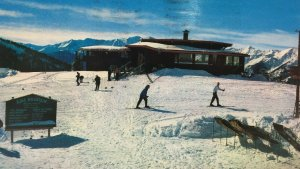 Aspen Sundeck Ajax Mountain Postcard Skiiers Skiing Colorado