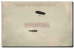 Old Postcard Jet Aviation Airship Zeppelin Great Week & # 39aviation Champagn...
