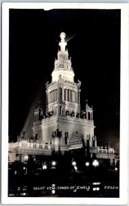 1915 PPIE Expo San Francisco RPPC Photo Postcard Night View COURT OF JEWELS