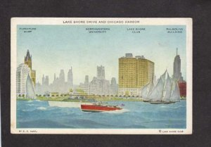 IL Lake Shore Drive Club Boat Northwestern University Chicago Illinois Postcard