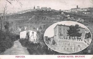 Perugia, Italy, Grand Hotel Brufani, Early Postcard, used in 1908