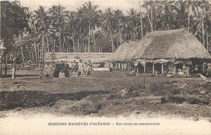 Oceania catholic missions construction of a school in Pacific Islands
