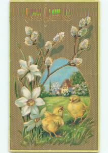 Divided-Back EASTER CHICK SCENE Cute Postcard AA0934