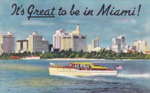 Speed Boat on the Water, It's Great to be in Miami! 1930-40s