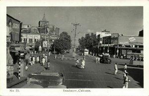 india, CALCUTTA, Sambazar Shambazar, Car Truck Tram (1950s) RPPC Postcard
