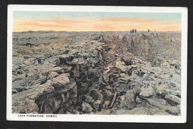 People in Distance Lava Formation Kilauea Hawaii Unused c1920s