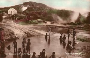 Oil Bath Whakarewarewa New Zealand Antique Real Photo Postcard