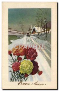 Old Postcard Fantasy Flowers Good snow years