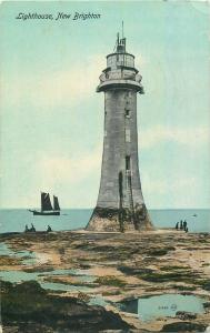 New Brighton lighthouse old postcard