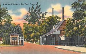 Navy Yard Entrance at Key West Florida FL 1954 Linen