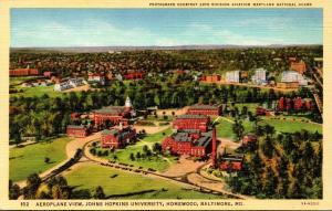 Maryland Baltimore Homewood Aeroplane View Johns Hopkins University Curteich