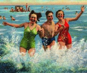 Vtg Linen Postcard Carolina Beach North Carolina NC Have a Swim With Us Unused