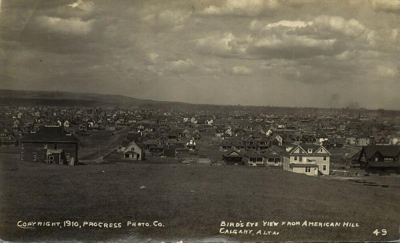 canada, CALGARY, Alberta, Birds Eye View American Hill (1910) Progress Photo Co.