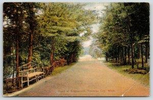 Traverse City Michigan~Road at Edgewood Resort~Rustic Bench~1910 PCK Postcard
