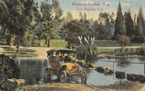 Winter in Eastlake Park, Los Angeles CA Automobile Old Car 1911 Vintage Postcard